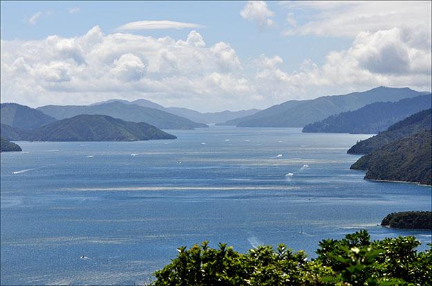 Vista de los Marlborough Sounds