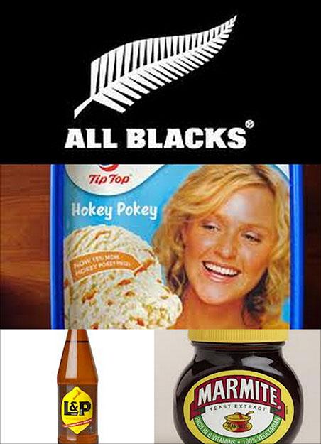 Símbolo de los All Blacks con la hoja de silver fern dibujada, helado de hokey pokey de la marca Tip Top, refresco L&P y Marmite