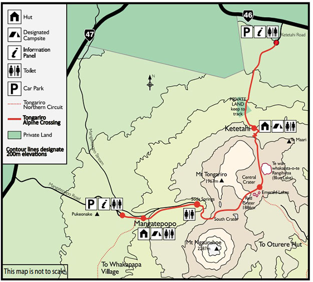 Mapa de Tongariro Alpine Crossing