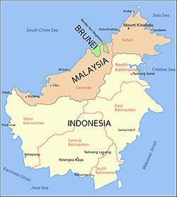 La isla está dividida administrativamente entre Brunéi, Malasia e Indonesia