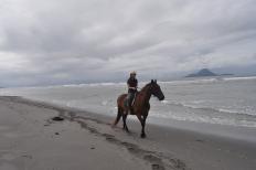 Paisaje desde Whakatane, localidad cercana a Te Kaha, con la White Island al fondo